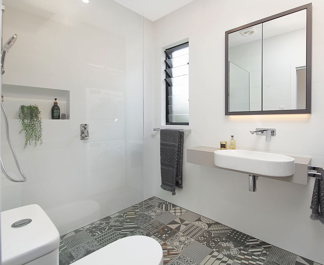 Open shower and semi recess basin