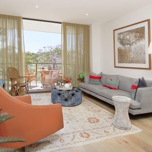 modern lounge room with blue sofa
