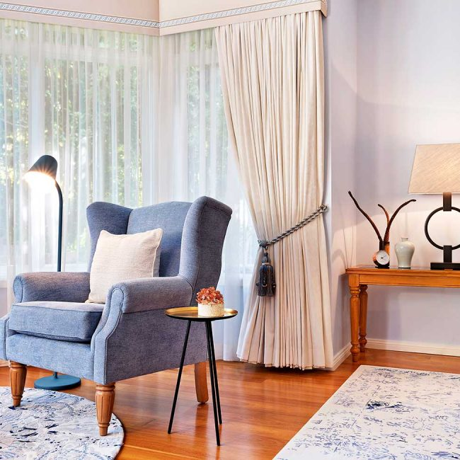 Blue wing armchair