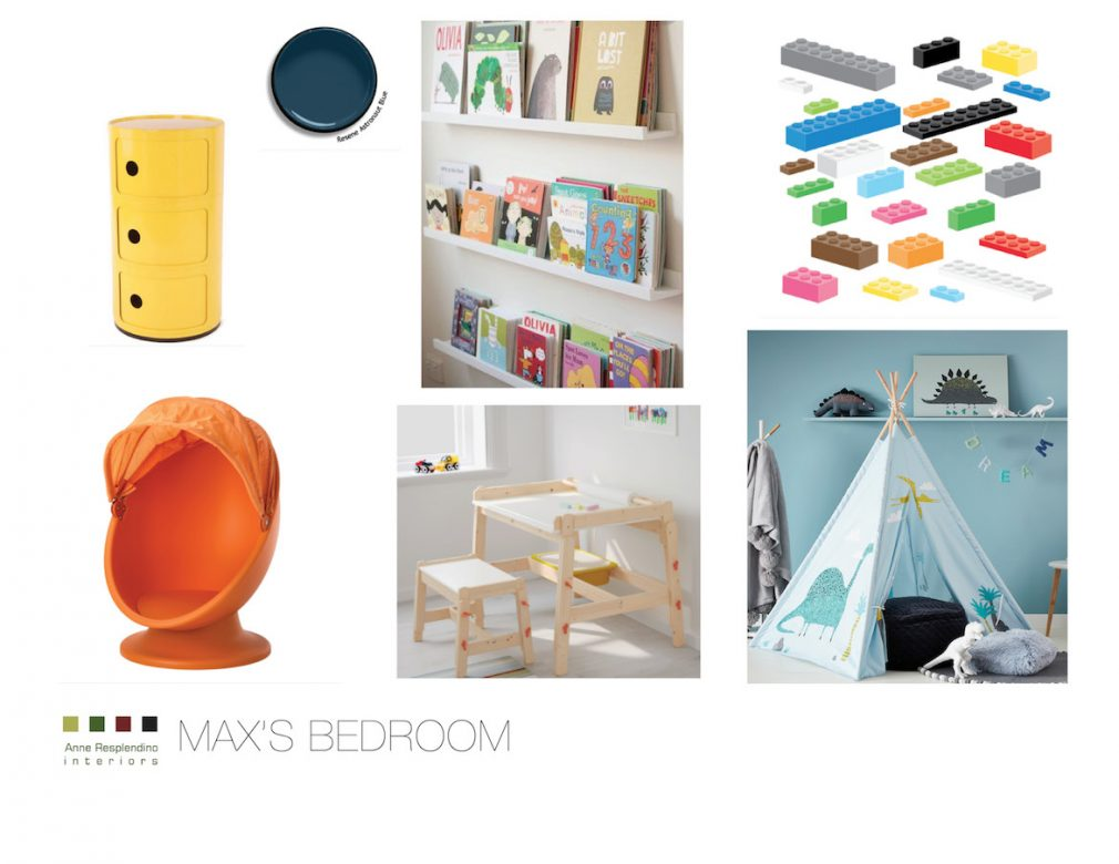 concept board for a child's bedroom