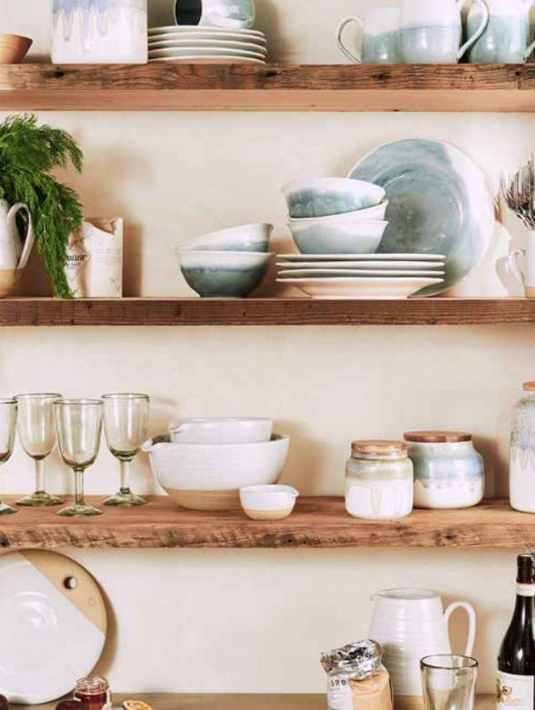 Floating timber shelves with china and vases