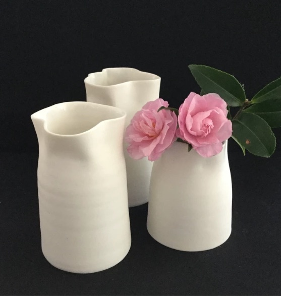 PORCELAIN VASE WITH ALTERED RIM BY LIZ HARDY