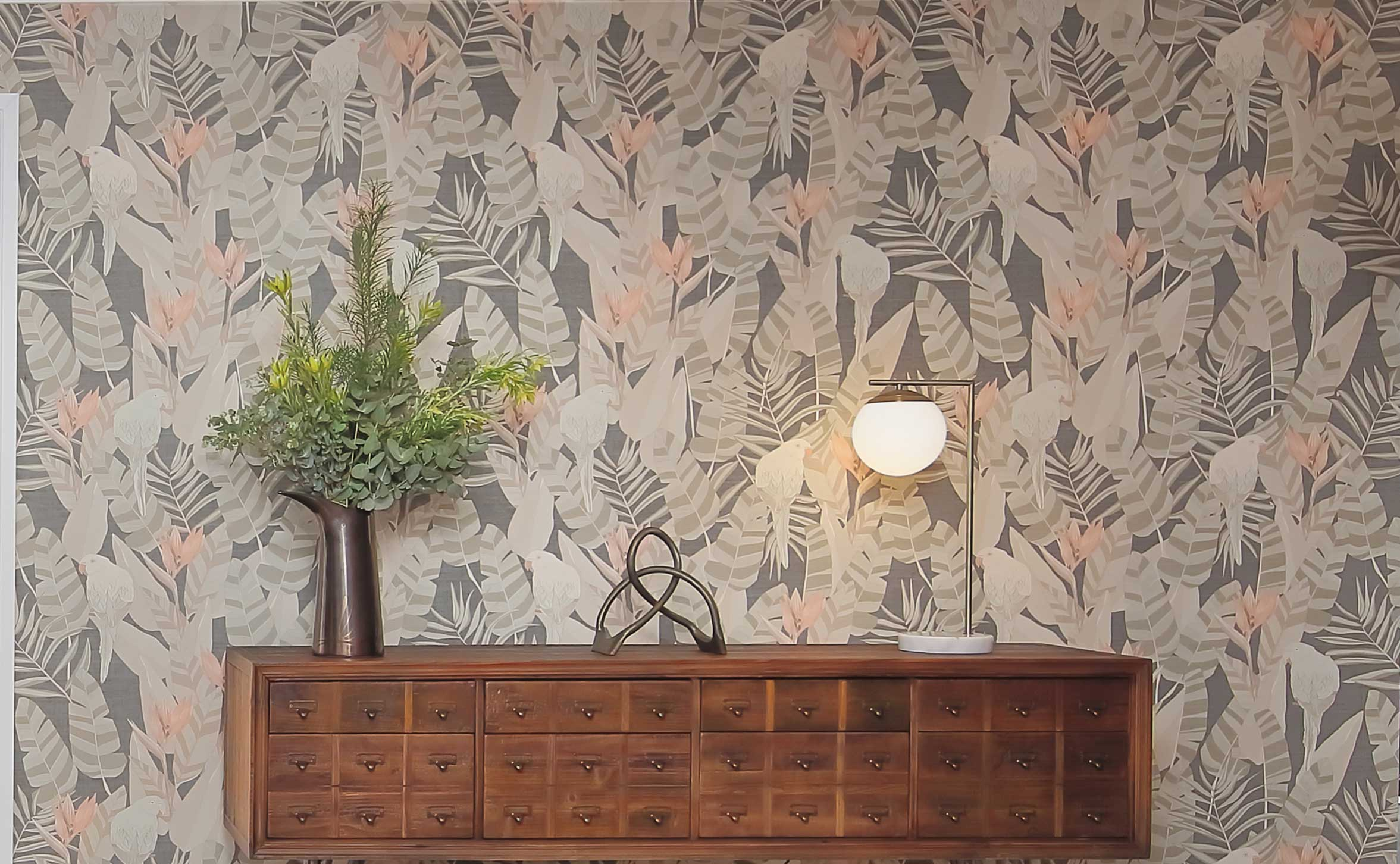 Wallpaper birds and leaves
