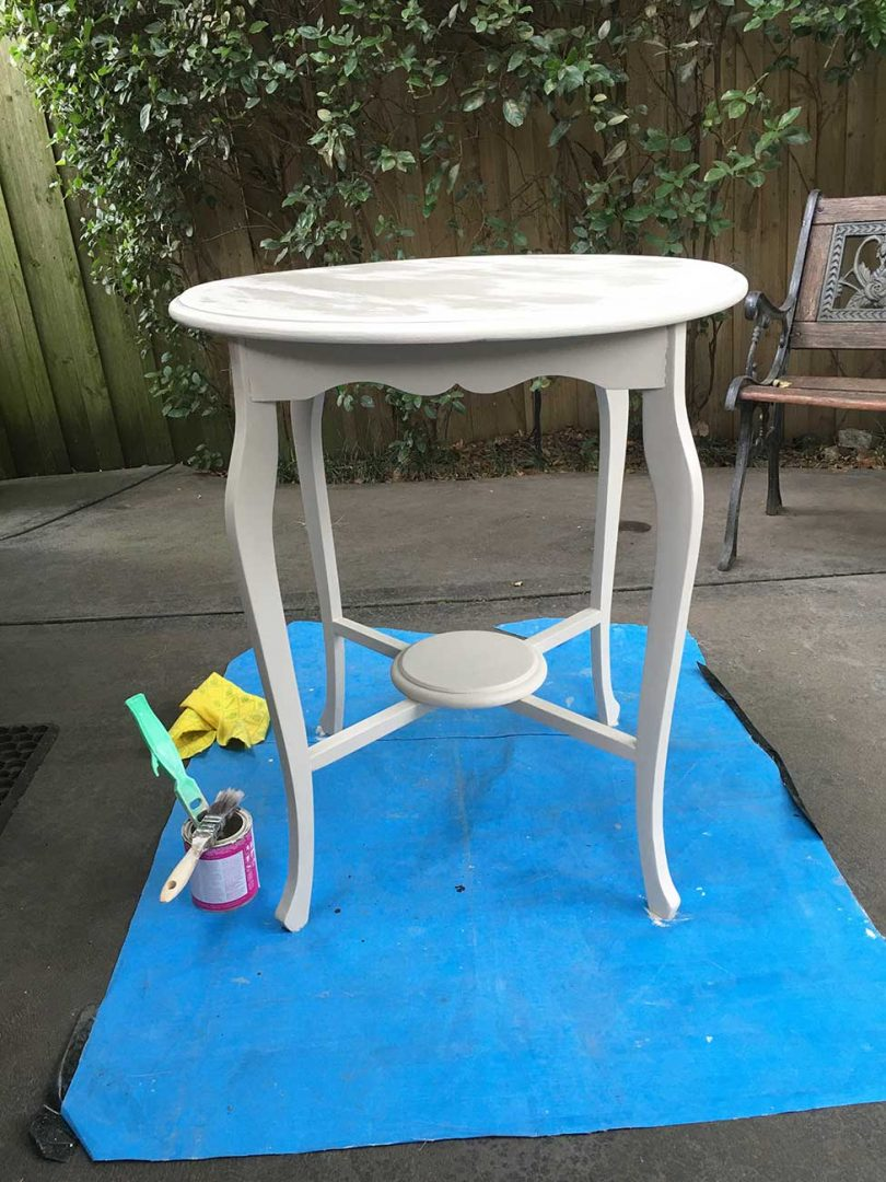 Painting side table white