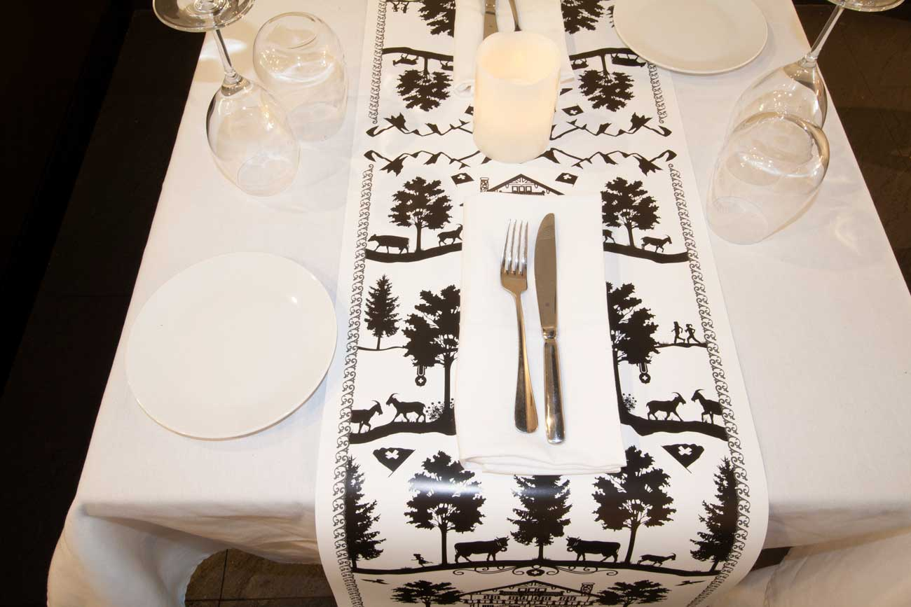 Dining Table with Swiss design table runner